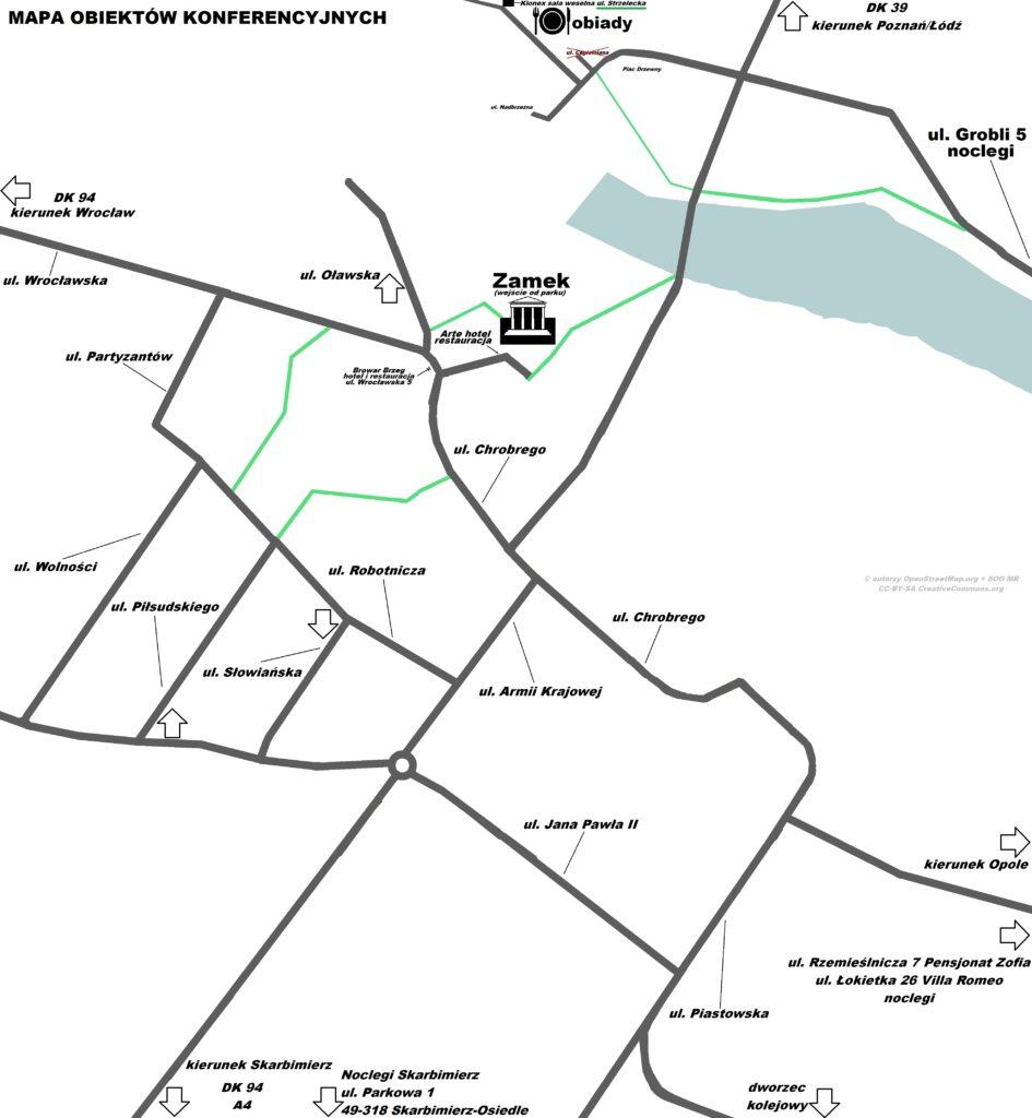 mapa obiektów konferencyjnych 2021