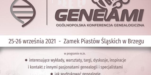 plakat konferencji GENEAMI 8. Brzeg 2021